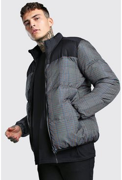 Check Printed Puffer With Black Panel, Grey