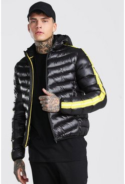 Black High Shine Quilted Zip Through Puffer With Tape