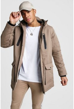 Hooded Parka With Rubber Coated Zips, Stone