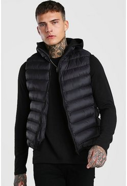 Black Quilted Puffer Gilet With Jersey Hood