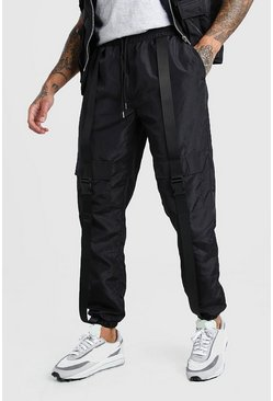 Black Nylon Buckle Cargo Jogger
