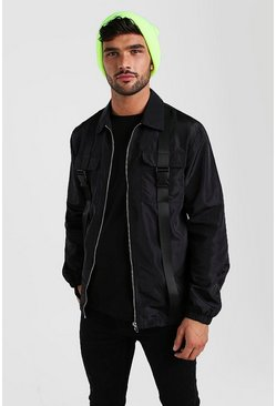 Nylon Buckle Overshirt, Black
