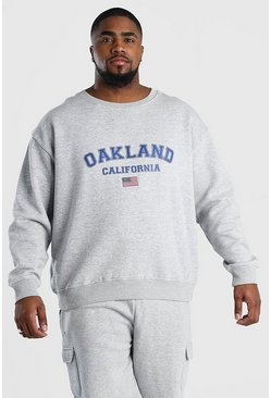 Grey marl Big And Tall Oakland Print Sweatshirt