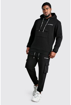 Black Big And Tall MAN Offical Cargo Tracksuit