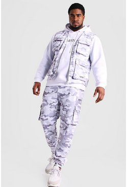 Light grey Big And Tall Camo Jogger and Vest Set