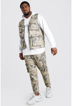 Big And Tall Camo Jogger And Vest Set, Khaki