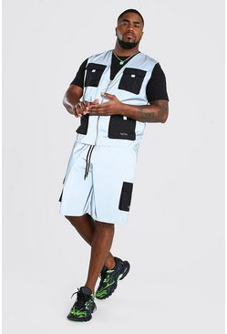 Big And Tall Reflective Vest And Short Set, Silver