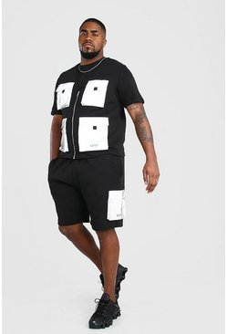 Black Big And Tall Utility Vest And Short Set