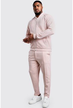 Dusky pink Big And Tall MAN Signature BomberTracksuit