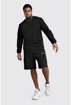 Big And Tall MAN Back Print Sweater Tracksuit, Black