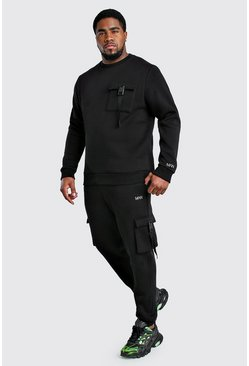 Big And Tall MAN Dash Sweater Tracksuit, Black
