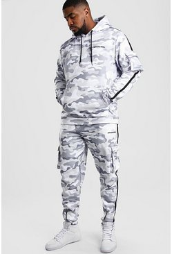 Light grey Big And Tall Official MAN Camo Tracksuit