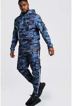 Blue Big And Tall Offical MAN Camo Tracksuit