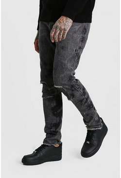Bleach Washed Skinny Fit Jeans, Washed black