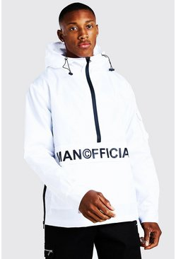 K-way MAN Official con mezza zip e tasca anteriore, Bianco