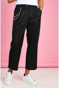 Black Wide Leg Cropped Trouser With Chain
