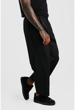 Black Wide Leg Cropped Trouser