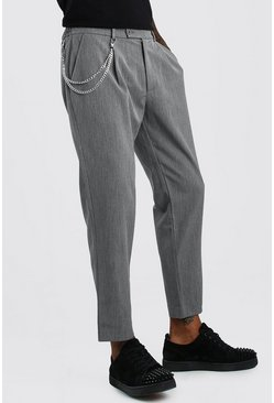 Grey Tapered Crop Trouser With Pleat & Chain