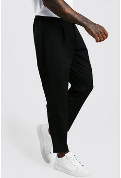 Black Tapered Casual Crop Trouser With Pleat