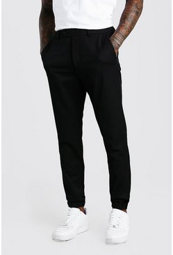 Black Slim Casual Cuffed Pants