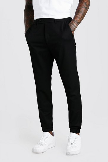 Black Slim Casual Cuffed Trouser