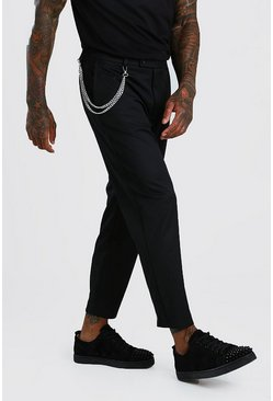 Black Slim Cropped Pants With Chain