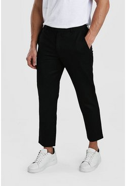 Black Slim Casual Cropped Pants
