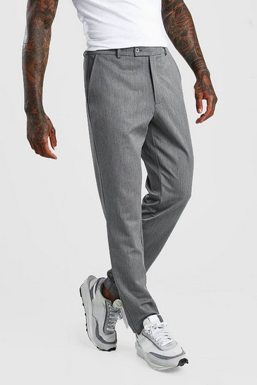 Grey Slim Casual Cropped Trouser
