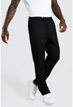 Black Slim Casual Pants With Elasticated Waistband