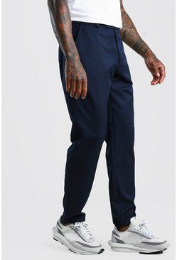 Navy Slim Casual Trouser With Elasticated Waistband