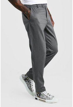Charcoal Slim Casual Trouser With Elasticated Waistband