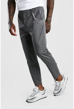 Grey Skinny Cropped Casual Trouser With Chain