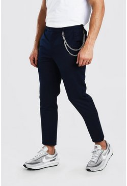 Navy Skinny Cropped Casual Pants With Chain