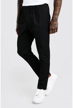 Black Skinny Fit Pants With Pleat