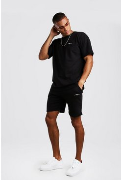 Black MAN Signature Loose Fit T-Shirt & Short Set