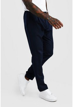 Navy Skinny Fit Pants With Pleat