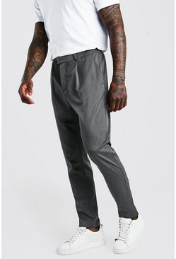 Charcoal Skinny Fit Pants With Pleat