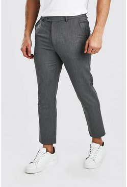 Grey Skinny Cropped Casual Trouser