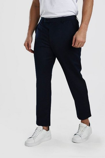 Navy Skinny Cropped Casual Trouser