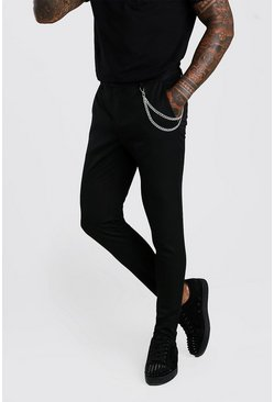 Black Super Skinny Casual Pants With Chain