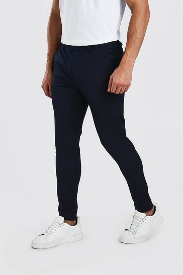 Navy Super Skinny Casual Trousers