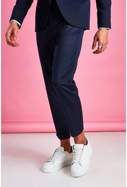 Navy Slim Casual Cropped Trouser