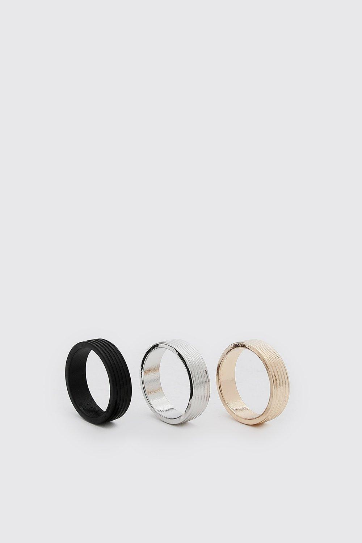 mens 3 pack plain ring set - multi