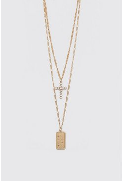 Double Layer Cross Pendant Necklace, Gold
