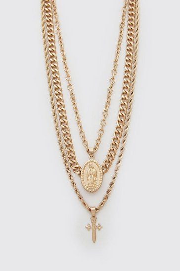 Gold Multi Layer Cross Pendant Necklace