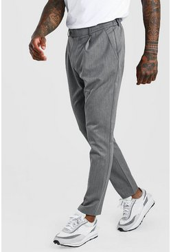 Grey Skinny Fit Pants With Pleat