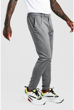 Grey Super Skinny Casual Trouser With Chain