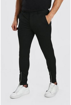 Black Super Skinny Pants With Front Ankle Zip