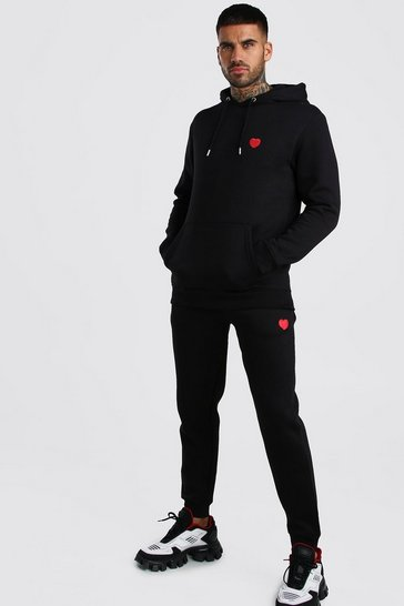 Black Valentines Hooded Tracksuit With Heart Embroidery