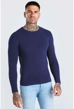Navy Knitted Ribbed Long Sleeve Jumper